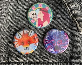 Pin Badges - Fantasy Art - Ophelia Skull Wolf Fox Spirit Animal Moon Art Nouveau Emo Pagan Witch Metal Head Rock Chick Wicca Stocking Filler