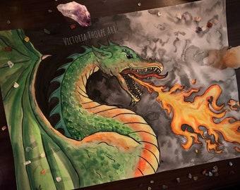 Original Art - Dragon Watercolour Painting Ink Inktober Fantasy Fairytale