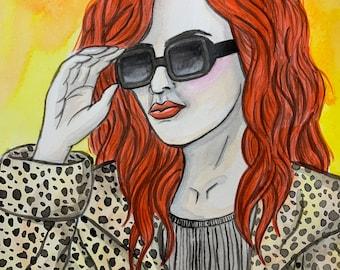 Original Art - Greed 7 Deadly Sins Watercolour Painting Fashion Money Rich Posh Portrait