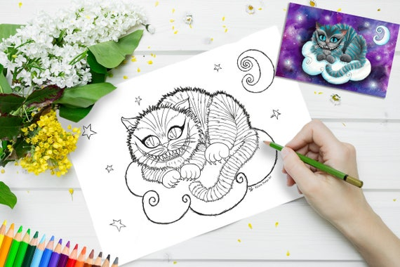 Printable Colouring Page Cheshire Cat Adult Coloring Etsy
