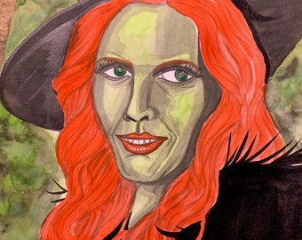 Original Art - Envy 7 Deadly Sins Watercolour Painting Wicked Witch of the West Inktober Gothic Fantasy Dark Art Wizard of Oz