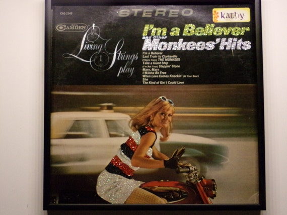 Glittered Record Album - Living Strings Play - I'm a Believer and other Monkees' Hits