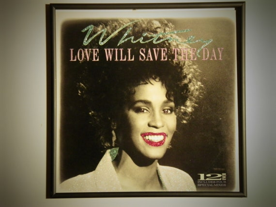 Glittered Record Album - Whitney Huston - Love Will Save The Day