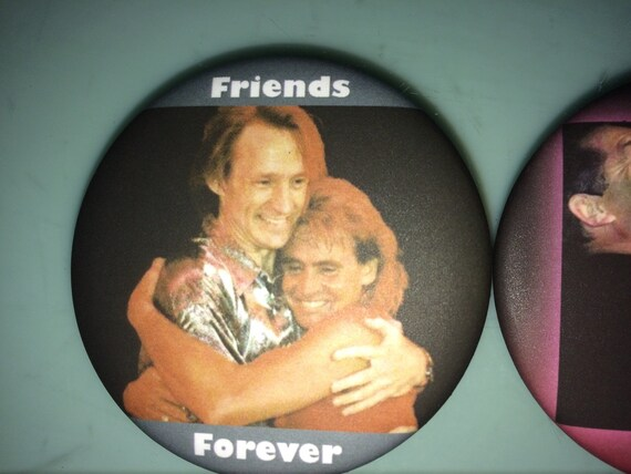 """BUTTON - SET OF 3 - Davy's Angels Michael Nesmith, Peter Tork, and Micky Dolenz """"Friends Forever"""" Set of 3 buttons"""