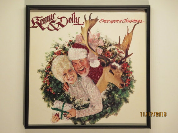 Glittered Record Album - Dolly Parton and Kenny Rodgers - Kenny and Dolly Once upon a Christmas