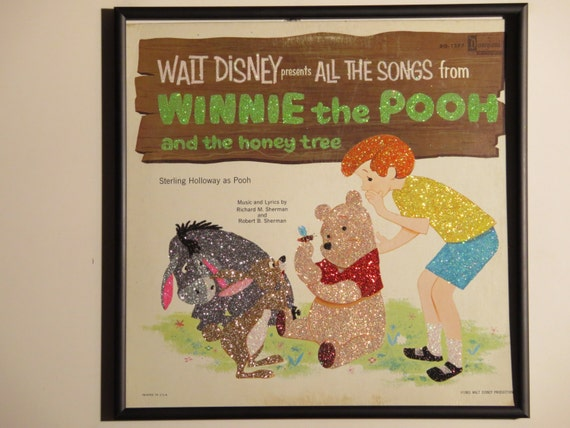 Glittered Record Album - Walt Disney - Winnie The Pooh and the Honey Tree