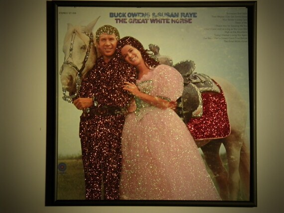 Glittered Record Album - Buck Owens and Susan Raye - The Great White Horse
