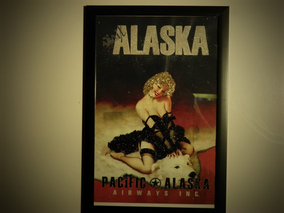 Glittered Poster - Visit Alaska - Pacific Alaska Airways Inc