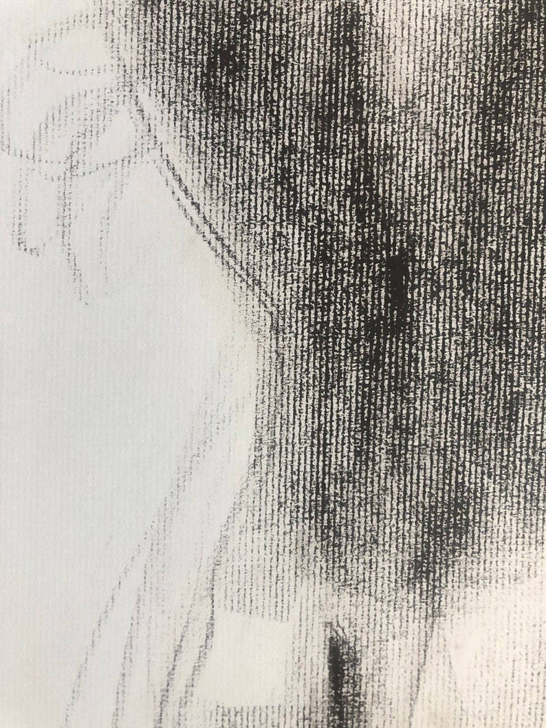 Male Nude Figure Drawing in Crayon after George Platt