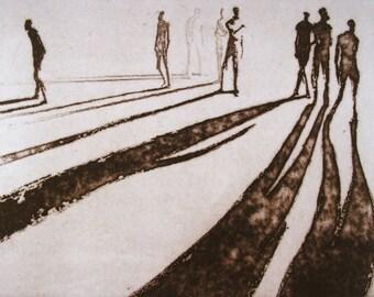 """Haunting Figure Intaglio Print, """"Paths VIII"""""""