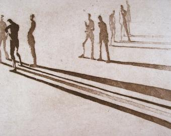 "Haunting Figure Intaglio Print, ""Paths XII"""