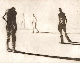 "Haunting Figure Intaglio Print, ""Paths VI"""
