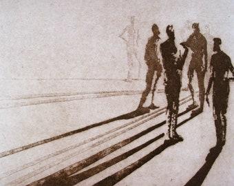 "Haunting Figure Intaglio Print, ""Paths XIII"""