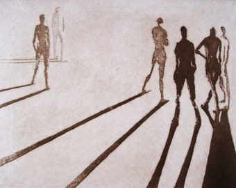 "Haunting Figure Intaglio Print, ""Paths IX"""