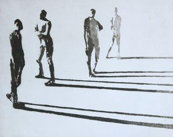 "Haunting Figure Intaglio Print, ""Paths No. 14B"""