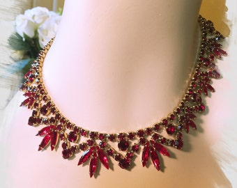 Beautiful RUBY and GARNET Colored SHERMAN Necklace