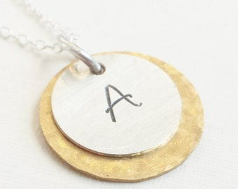 Personalized Initial Necklace / Initial Necklace / Layered Initial Necklace / Initial Jewelry / Hand Stamped Initials /Bridesmaid Necklace