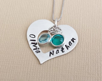 Mom Necklace / Hand Stamped Jewelry / Personalized Necklace / Necklace with Kids Names and Birthstones / Sterling Silver Heart Necklace