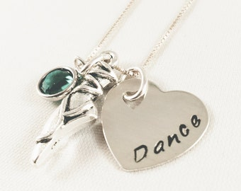 Dance Jewelry / Dance Necklace / Teacher Jewelry / Dancing Necklace / Ballet Charm Necklace / Dance Teacher Gift / Hand Stamped Necklace