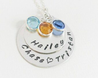 Personalized Necklace / Necklace with Kids Names and Birthstones / Mom Necklace / Hand Stamped Necklace /  Multiple Name Jewelry