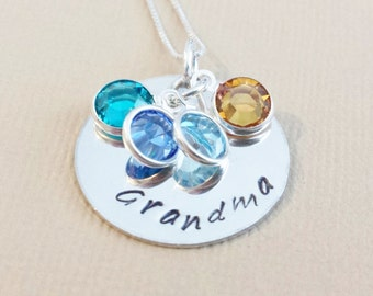 Grandma Necklace / Personalized Jewelry / Hand Stamped Necklace / Grandma Necklace / Necklace with Grandkids Birthstones / Grandma Gift