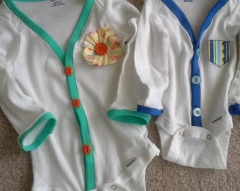 Long-Sleeved Onesie Cardigans for Baby Boys and Girls, cardigan onesie, girls onesie, boys onesie, custom onesie, long-sleeve custom onesie