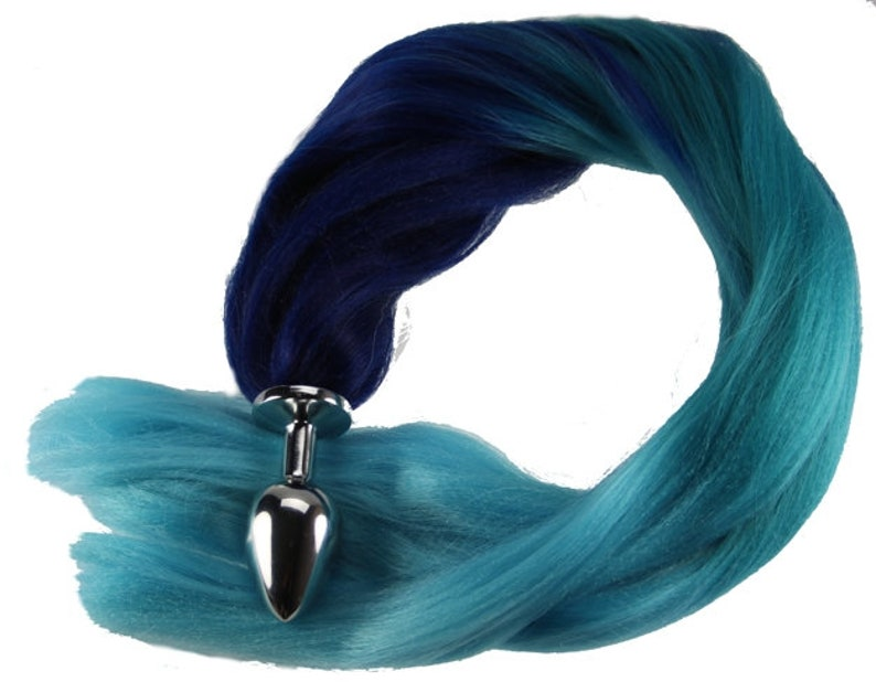 419445453 Blue Ombre Pony Tail Butt Plug 4 Sizes Available for Pony Play