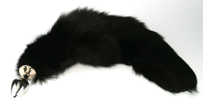 Real Fur Black Fox Tail Butt Plug Metal or Silicone Butt image 0