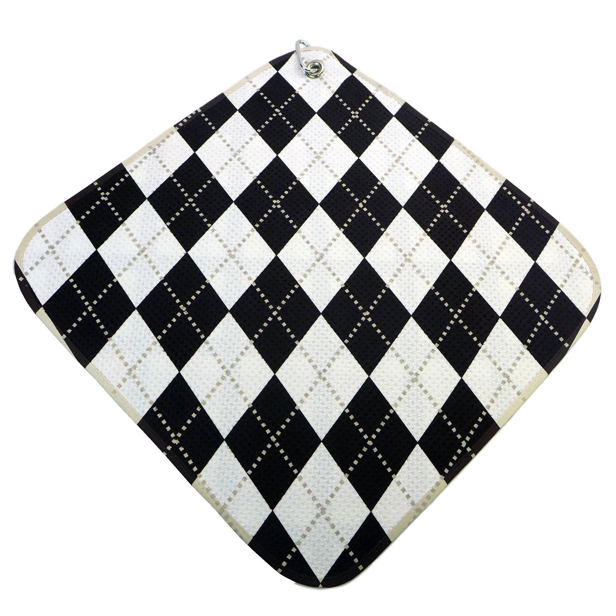 Womens Black And White Argyle Microfiber Golf Towel Etsy Standard Zoom