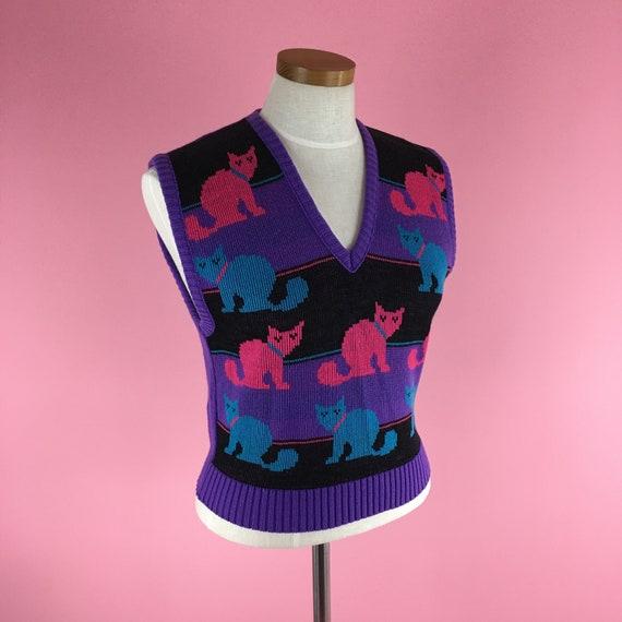1970s-1980s Vintage Cat Sweater Vest / Size M / P… - image 7