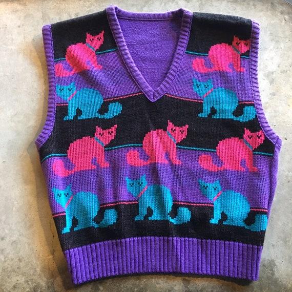 1970s-1980s Vintage Cat Sweater Vest / Size M / P… - image 9