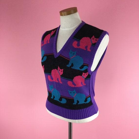 1970s-1980s Vintage Cat Sweater Vest / Size M / P… - image 4