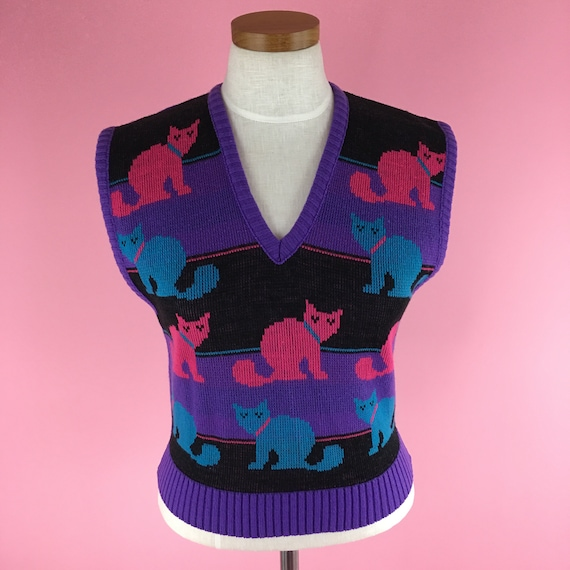 1970s-1980s Vintage Cat Sweater Vest / Size M / P… - image 2