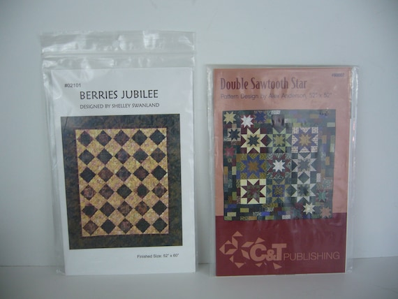 Two Designer Quilting Patterns Alex Anderson Double Sawtooth Star And Shelley Swanland Berries Jubilee