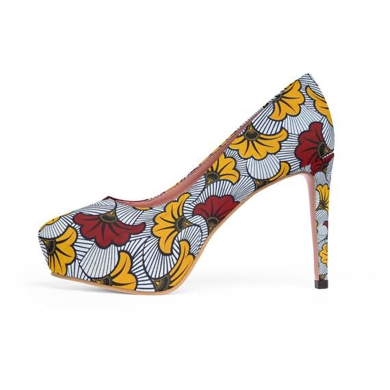 d0dae030bbbb5 Yellow Floral Ankara Tribal African Print WomenS Platform Heels African  Heels African Women Shoes  african footwear   african pumps