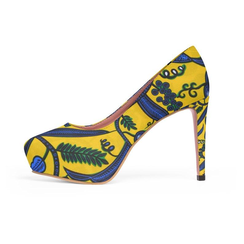 d77a700058910 Yellow Ankara Tribal African Print WomenS Platform Heels Ankara Shoes  African Heels African Women Shoes   african footwear
