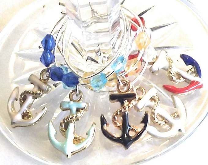 Anchors Nautical Wine Charms - Memorial Day/Independence Day - 5 per set