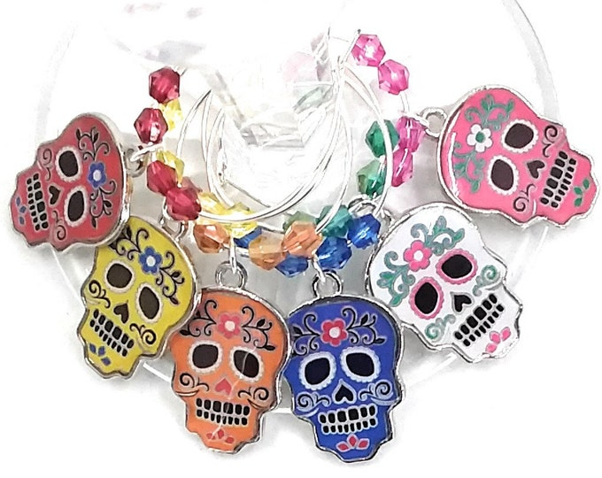 Halloween Wine Charms - Day Of The Dead Sugar Skulls Set, 6 pack - Party Favor Packaging Available