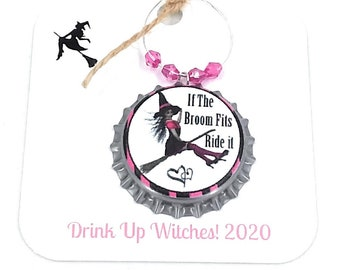 Halloween Bottle Cap Wine Charms - Wicked Never Looked So Good - 6 pack - Party Favor Packaging Available