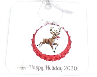 Santa's Reindeer Wine Charms - Pack Of 9 - Party Favor Packaging Option Available