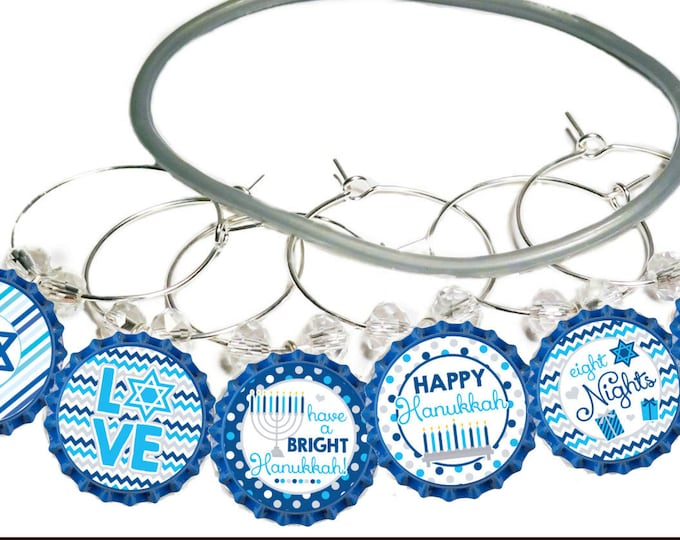 Hanukkah Wine Charms Gift - Blue Bottle Cap 6 pack