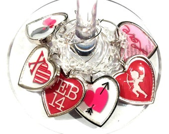 Valentine's Day Gift Wine Charms - Cupids Arrow Will Include Gift Tag And Gift Bag 6/pack