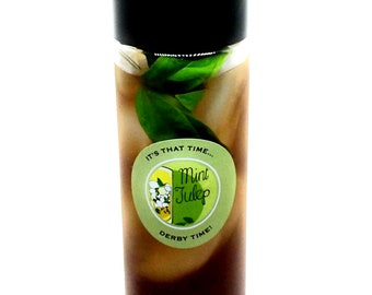 "Kentucky Derby Party Mint Julep ""To Go"" Bottles With Waterproof Decal, Not Dishwasher Safe - 4 to 8 Bottles/Order"