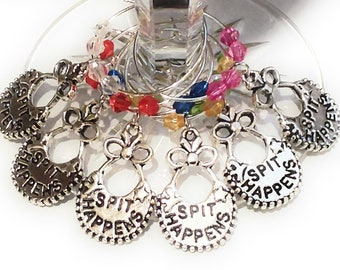 Spit Happens Baby Shower Wine Charms - 6 pack