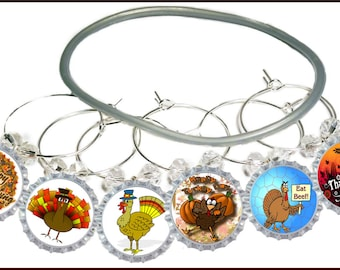Thanksgiving Bottle Cap Wine Charms - 6/Pack - Party Favor Packaging Option Available