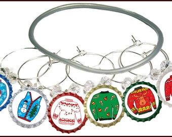 Very Ugly Sweater Wine Charms - Pack Of 8 - Party Favor Packaging Option Available