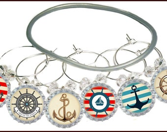 Nautical Bottle Cap Wine Charms - 8 per set
