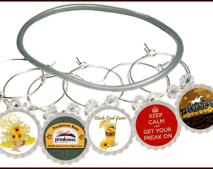 The Preakness Bottle Cap Wine Charms, Glass Tags, 8 pack - Glass Not included