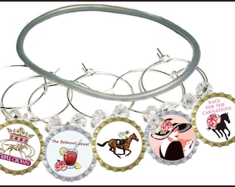 Belmont Stakes Bottle Cap Wine Charms, Glass Tags, 8 pack - Glass Not included