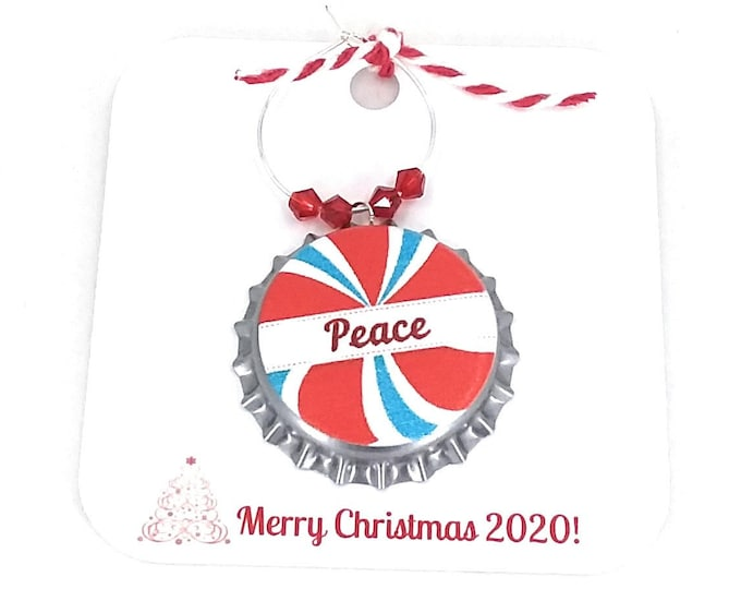 Christmas Wine Charms - Peppermint Twist Bottle Cap 6 pack - Party Favor Packaging Option Available